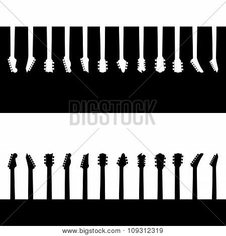 Neck silhouette of different guitar