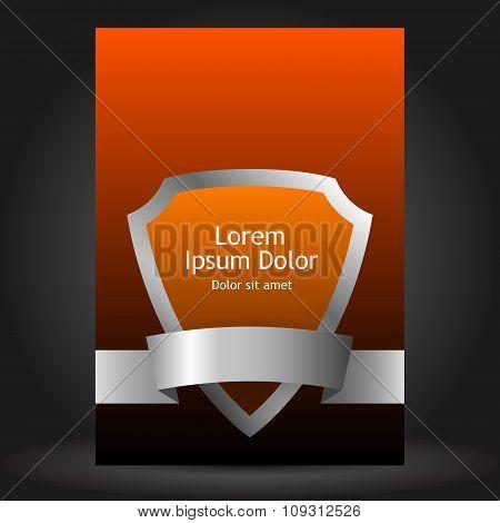Orange Brochure Template Design With Shield