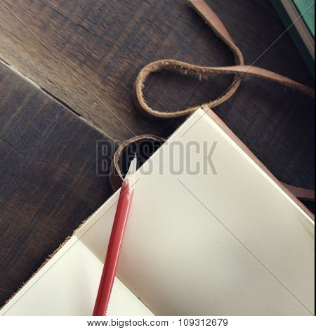 Topview Notebook Blank Pencil Table Concept