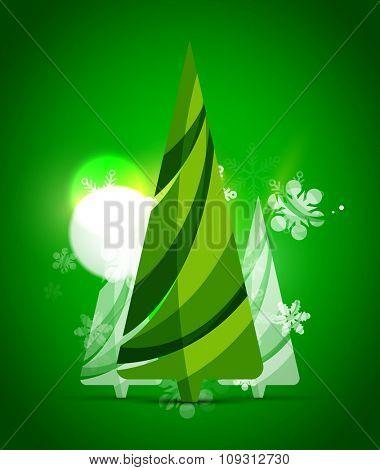 Christmas tree, green shiny abstract background. Vector holiday illustration