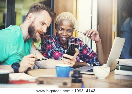 Couple Partner Casual Browsing Smart Phone Concept