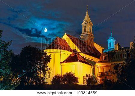 Church of Saint Benson at night, Warsaw, Poland.