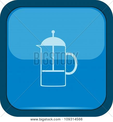 French press mug icon on a blue button