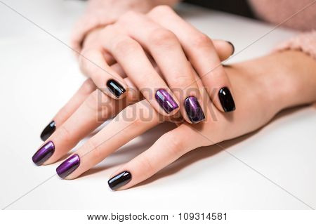 poster of Hand on hand with nice manicure