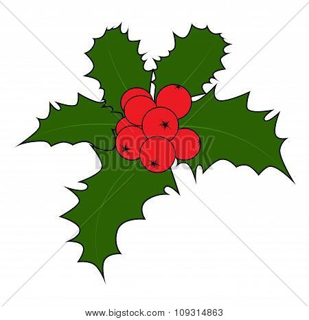 Holly Berry, Christmas Leaves And Fruits Icon, Symbol, Design. Winter Vector Illustration Isolated O