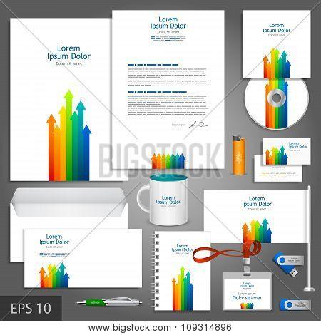 Brochure Template Design With Color Arrows Elements