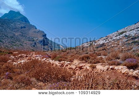 Rocky peak in the mountains on the island of Crete