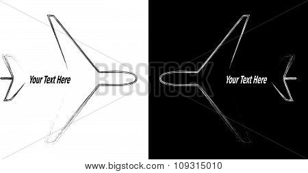 Advertising card with aeroplanes silhouette on a black and white background