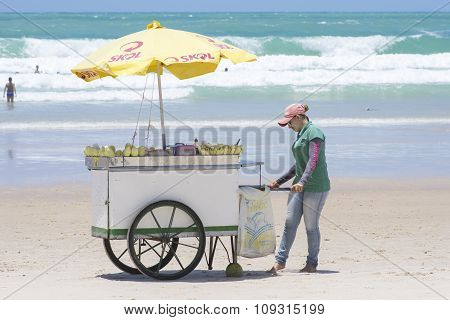 Vending Cart On Brazilian Beach