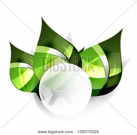 Nature design template for your message. Toxic colorful abstract leaves.