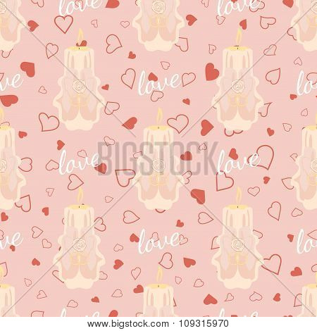 Vector pink wedding seamless pattern with candles