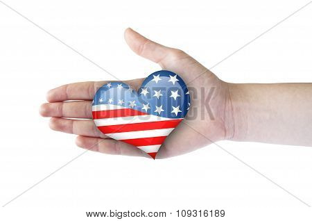 Heart With Usa Flag In Woman Hand