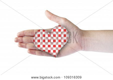 Heart With Red Patern In Hand