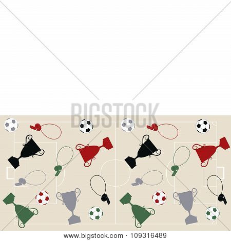 Football field with balls and cups