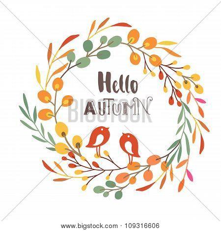 Wreath with birds. Autumn colors. Hello autumn.