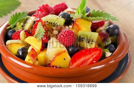 Healthy Fruit Salad With Mint Leaves