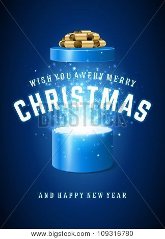 Open Gift Box Magic Light fireworks and Christmas Wishes and Happy New Year message vector background.