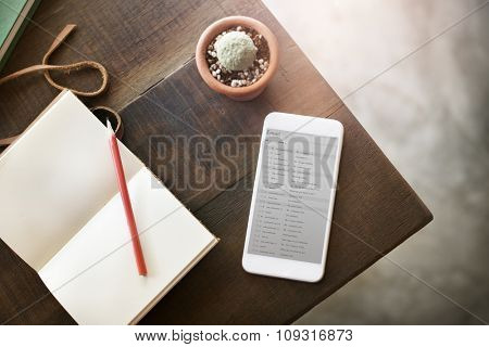 Topview Notebook Mobile Phone Email Table Concept
