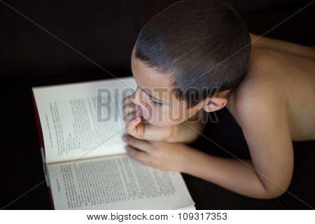 Elementary Boy Reading.