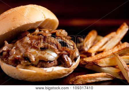 Organic Beef Burger With Cheese, Onions And Mushrooms