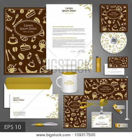 Cafe Corporate Identity Template With Food Elements