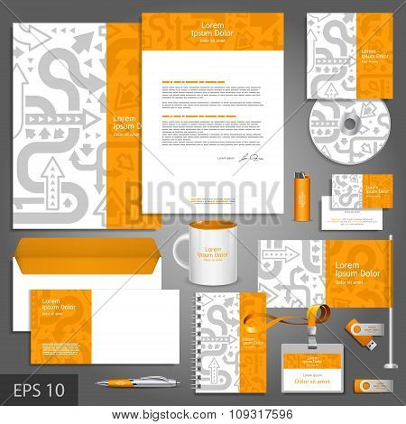 Orange Corporate Identity Template With Gray Arrows