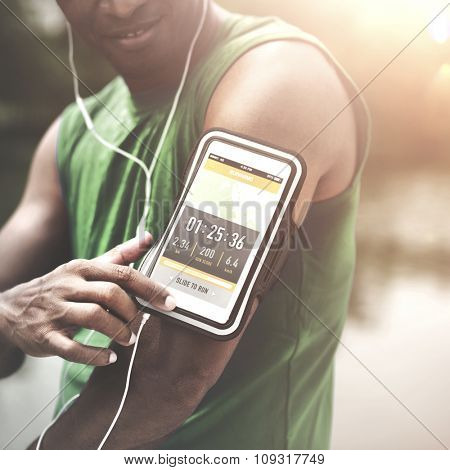 Exercise Athlete Playlist Gadget Smartphone Sporty Concept