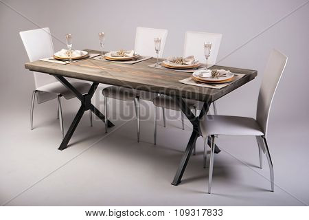 Wooden table setting and decoration for meal time