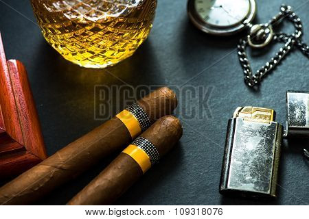 Cuban Cigars With Cognac And Humidor