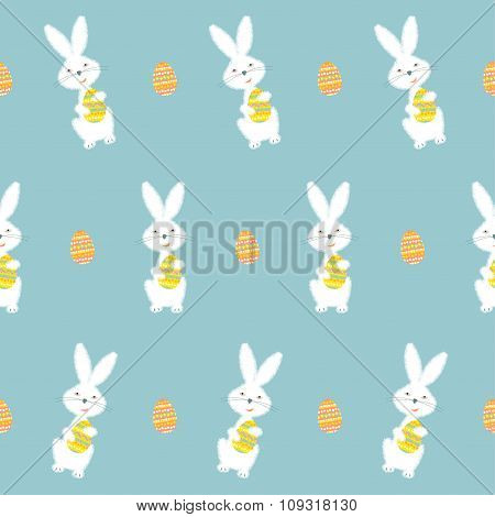 Bunny Holding Easter Egg. Happy Easter Seamless Background Pattern.
