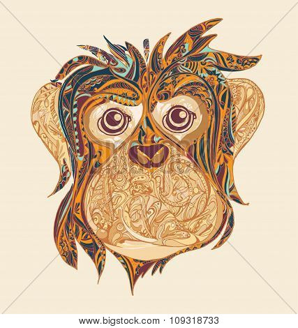 Decorative Ornamental Head Of Monkey..symbol Of The Year 2016 By Chinese Horoscope For Your Design