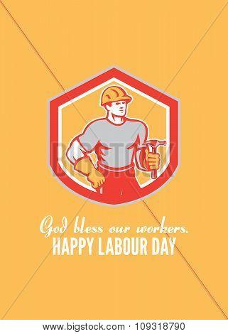 Labor Day Greeting Card Builder Carpenter Hammer Shield