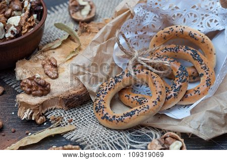 Bagels With Poppy Seeds In A Paper Bag