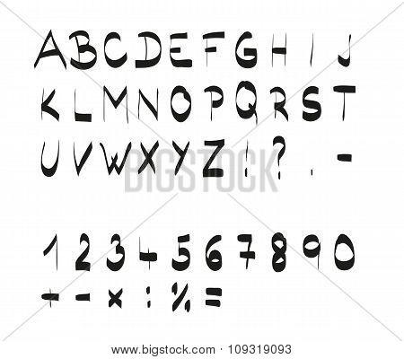 Handwritten Calligraphic Black Alphabet Font