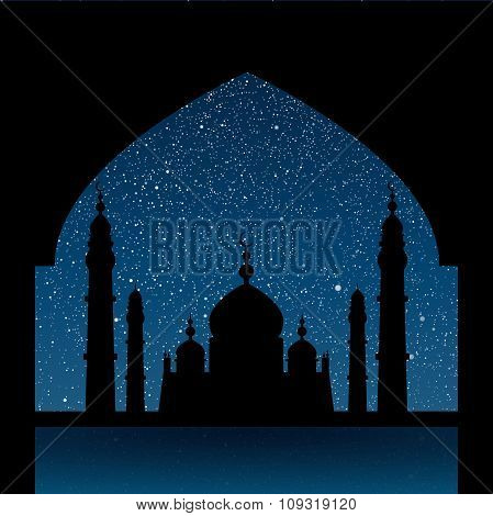 Vector background. Starry night sky. Silhouette of the mosque.