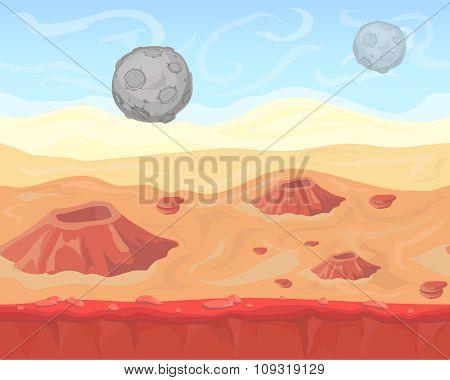 Fantasy seamless alien space landscape for game design, vector  background