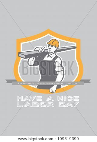 Labor Day Greeting Card Builder Carpenter Lumber