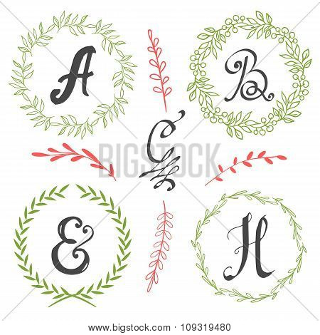 Vector illustration with calligraphic monogram.