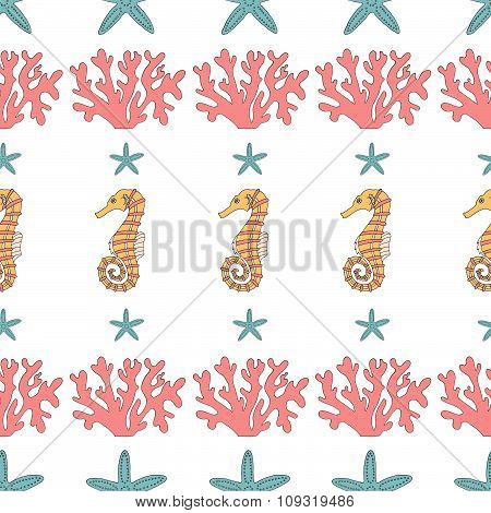 Wonderful vector seamless pattern of  starfish,coral and seahorses.