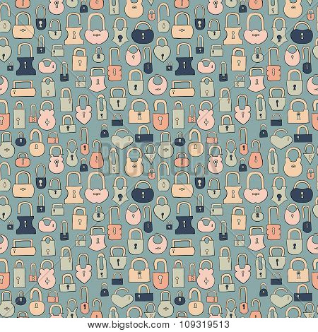 vintage hand drawn locks seamless vector pattern