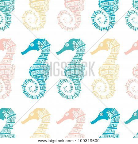 Wonderful vector seamless pattern of seahorses.