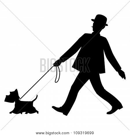 Silhouettes gentleman and his dog are walking