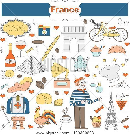 A set of thematic elements of France
