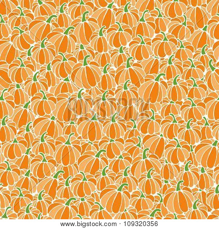 Hand drawn seamless pattern background from pumpkins for Halloween.