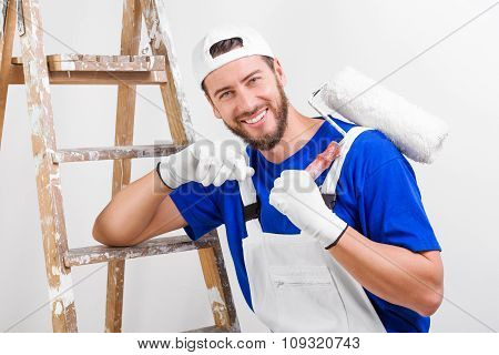 Painter In White Dungarees, Blue T-shirt