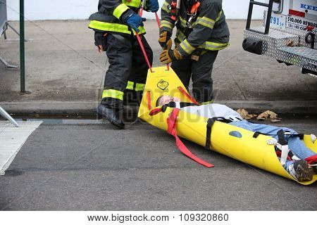 Dragging mock casualty to safety