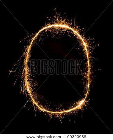 Sparkler Firework Light Alphabet O At Night