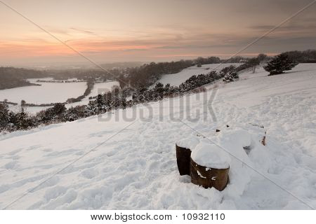 Surrey Landscape Covered In Snow