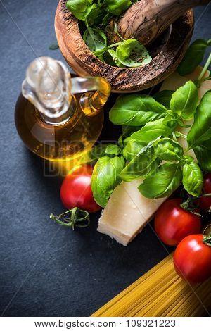 Fresh Pasta And Herbs, Italian Cousine