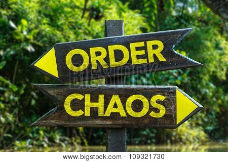 Order - Chaos signpost with forest background